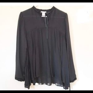 Anthropologie Esley Black Tunic Top size Small